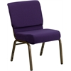 Flash Furniture HERCULES Series 21'' Extra Wide Royal Purple Fabric Stacking Church Chair with 4'' Thick Seat - Gold Vein Frame