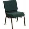 HERCULES Series 21'' Extra Wide Hunter Green Dot Patterned Fabric Church Chair with 4'' Thick Seat, Communion Cup Book Rack - Gold Vein Frame