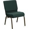 Flash Furniture HERCULES Series 21'' Extra Wide Hunter Green Dot Patterned Fabric Stacking Church Chair with 4'' Thick Seat - Gold Vein Frame