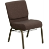 HERCULES Series 21'' Extra Wide Brown Fabric Church Chair with 4'' Thick Seat, Communion Cup Book Rack - Gold Vein Frame