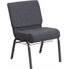 HERCULES Series 21'' Wide Dark Gray Fabric Church Chair with 4'' Thick Seat, Book Rack - Silver Vein Frame