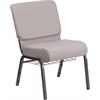 HERCULES Series 21'' Wide Gray Dot Fabric Church Chair with 4'' Thick Seat, Book Rack - Silver Vein Frame