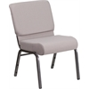 HERCULES Series 21''W Church Chair in Gray Dot Fabric - Silver Vein Frame
