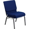 HERCULES Series 21'' Extra Wide Navy Blue Fabric Church Chair with 4'' Thick Seat, Communion Cup Book Rack - Silver Vein Frame