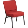 HERCULES Series 21'' Wide Crimson Fabric Church Chair with 4'' Thick Seat, Cup Book Rack - Silver Vein Frame