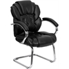 Black Leather Button Tufted Transitional Side Reception Chair with Sled Base