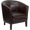 Flash Furniture Brown Leather Barrel Shaped Guest Chair