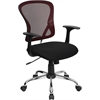 Mid-Back Burgundy Mesh Swivel Task Chair with Black Mesh Padded Seat and Chrome Base