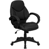 Mid-Back Black Leather Contemporary Executive Swivel Office Chair
