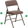 Flash Furniture HERCULES Series Curved Triple Braced & Double Hinged Beige Fabric Upholstered Metal Folding Chair