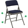 HERCULES Series Curved Triple Braced & Double Hinged Navy Fabric Metal Folding Chair