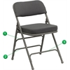 HERCULES Series Premium Curved Triple Braced & Double Hinged Gray Fabric Upholstered Metal Folding Chair