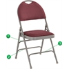 HERCULES Series Extra Large Ultra-Premium Triple Braced Burgundy Fabric Metal Folding Chair with Easy-Carry Handle
