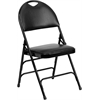 HERCULES Series Extra Large Ultra-Premium Triple Braced Black Vinyl Metal Folding Chair with Easy-Carry Handle