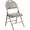 Flash Furniture HERCULES Series Extra Large Ultra-Premium Triple Braced Gray Vinyl Metal Folding Chair with Easy-Carry Handle