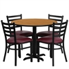 Flash Furniture 36'' Round Natural Laminate Table Set with 4 Ladder Back Metal Chairs - Burgundy Vinyl Seat