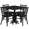 Flash Furniture 36'' Square Black Laminate Table Set with 4 Ladder Back Metal Chairs - Black Vinyl Seat