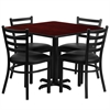 Flash Furniture 36'' Square Mahogany Laminate Table Set with 4 Ladder Back Metal Chairs - Black Vinyl Seat