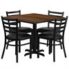Flash Furniture 36'' Square Walnut Laminate Table Set with 4 Ladder Back Metal Chairs - Black Vinyl Seat