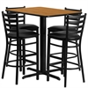 Flash Furniture 24''W x 42''L Rectangular Natural Laminate Table Set with 4 Ladder Back Metal Barstools - Black Vinyl Seat