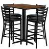 Flash Furniture 24''W x 42''L Rectangular Walnut Laminate Table Set with 4 Ladder Back Metal Barstools - Black Vinyl Seat