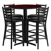 Flash Furniture 30'' Round Mahogany Laminate Table Set with 4 Ladder Back Metal Barstools - Black Vinyl Seat