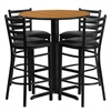 Flash Furniture 30'' Round Natural Laminate Table Set with 4 Ladder Back Metal Barstools - Black Vinyl Seat