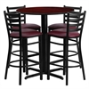 Flash Furniture 30'' Round Mahogany Laminate Table Set with 4 Ladder Back Metal Barstools - Burgundy Vinyl Seat