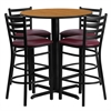 Flash Furniture 30'' Round Natural Laminate Table Set with 4 Ladder Back Metal Barstools - Burgundy Vinyl Seat