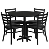 Flash Furniture 36'' Round Black Laminate Table Set with 4 Ladder Back Metal Chairs - Black Vinyl Seat