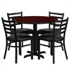 36'' Round Mahogany Laminate Table Set with 4 Ladder Back Metal Chairs - Black Vinyl Seat