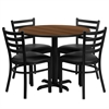 Flash Furniture 36'' Round Walnut Laminate Table Set with 4 Ladder Back Metal Chairs - Black Vinyl Seat