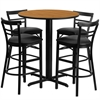 24'' Round Natural Laminate Table Set with 4 Ladder Back Metal Barstools - Black Vinyl Seat