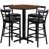 Flash Furniture 24'' Round Walnut Laminate Table Set with 4 Ladder Back Metal Barstools - Black Vinyl Seat