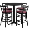 24'' Round Black Laminate Table Set with 4 Ladder Back Metal Barstools - Burgundy Vinyl Seat