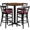 Flash Furniture 24'' Round Walnut Laminate Table Set with 4 Ladder Back Metal Barstools - Burgundy Vinyl Seat