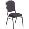 HERCULES Series Crown Back Stacking Banquet Chair with Black Patterned Fabric and 2.5'' Thick Seat - Silver Vein Frame