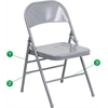 Flash Furniture HERCULES Series Triple Braced & Double Hinged Gray Metal Folding Chair
