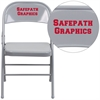 Personalized HERCULES Series Triple Braced & Double Hinged Gray Metal Folding Chair