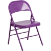Flash Furniture HERCULES COLORBURST Series Impulsive Purple Triple Braced & Double Hinged Metal Folding Chair