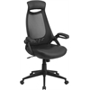 High Back Black Mesh Executive Swivel Office Chair with Leather Padded Seat and Flip-Up Arms