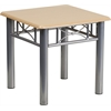 Flash Furniture Natural Laminate End Table with Silver Steel Frame