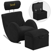 Flash Furniture Personalized HERCULES Series Black Fabric Rocking Chair with Storage Ottoman