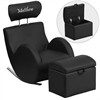 Flash Furniture Personalized HERCULES Series Black Vinyl Rocking Chair with Storage Ottoman