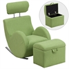 Flash Furniture HERCULES Series Green Fabric Rocking Chair with Storage Ottoman
