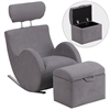 Flash Furniture HERCULES Series Gray Fabric Rocking Chair with Storage Ottoman