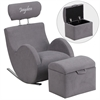 Flash Furniture Personalized HERCULES Series Gray Fabric Rocking Chair with Storage Ottoman