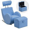 Personalized HERCULES Series Light Blue Fabric Rocking Chair with Storage Ottoman