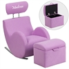 Flash Furniture Personalized HERCULES Series Lavender Fabric Rocking Chair with Storage Ottoman