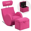 Flash Furniture Personalized HERCULES Series Pink Fabric Rocking Chair with Storage Ottoman